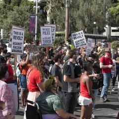 Large crowd of masked people in a street with signs that include: JUSTICE FOR JACOB BLAKE; THIS IS A REVOLT AGAINST RACISM; END RACIST POLICE AND VIGILANTE TERROR