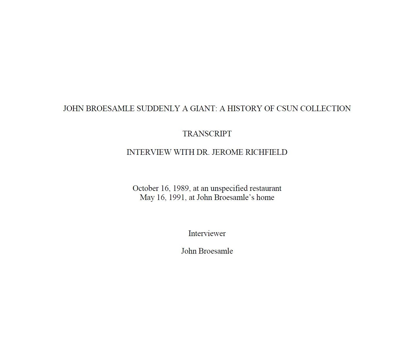 Cover for Dr. Jerome Richfield transcript