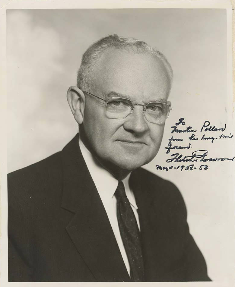 Portrait photograph of former Los Angeles Mayor, Fletcher Bowron. The photograph has been signed by Bowron and reads 'To Martin Pollen, from his long time friend, Fletcher Bowron Mayor 1938-53'