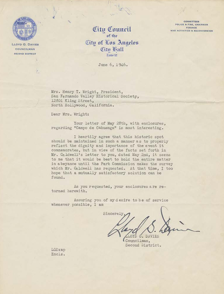 Typed letter to Mrs. Henry T. Wright from the City Council of Los Angeles