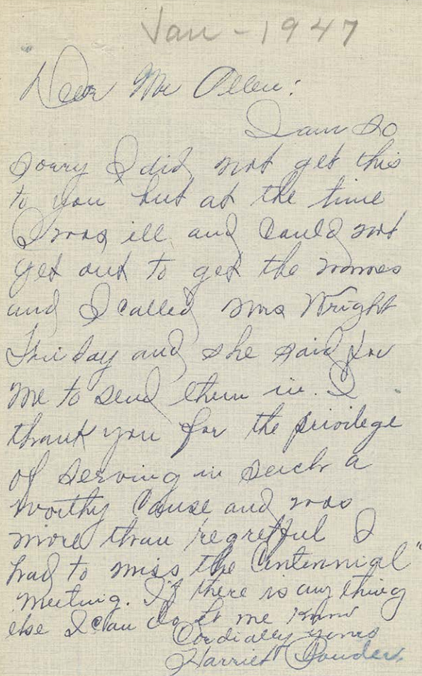Handwritten letter dated Jan - 1947