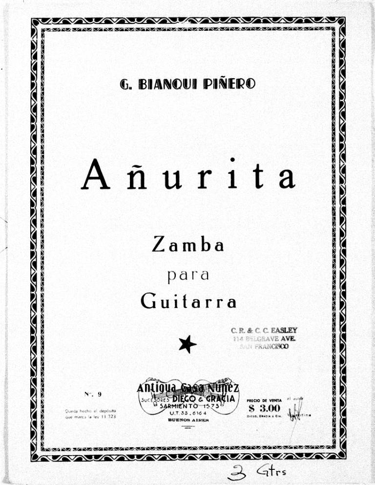Page cover for Añurita zamba para guitarra