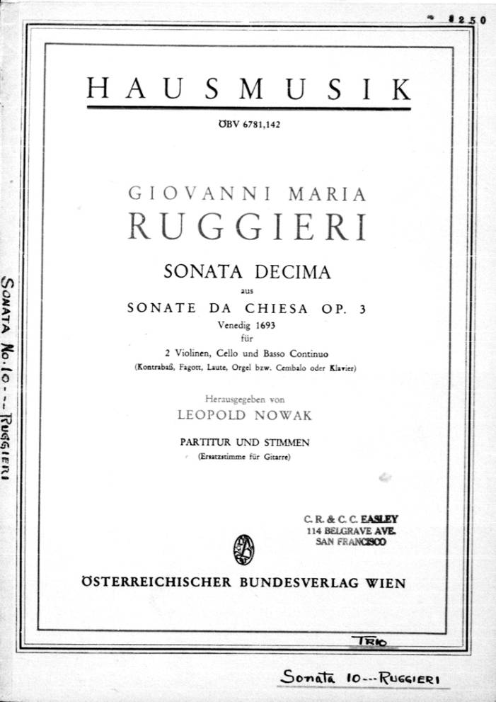 Page Cover for Sonata decima aus sonate da chiesa