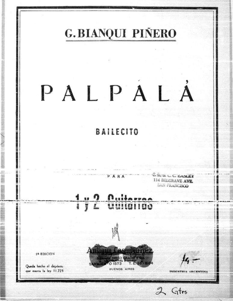 Page cover for Palpalá bailecito para 1 y 2 guitarras