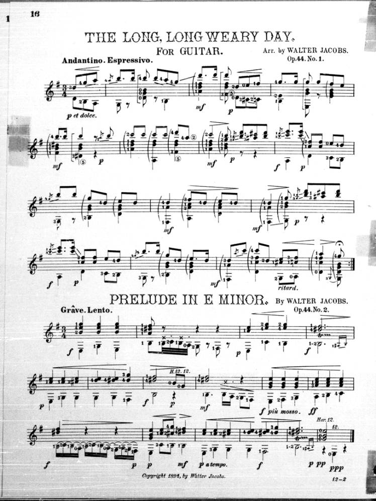 Sheet music for Long, long weary day