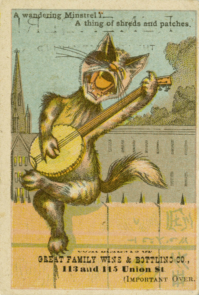 Cat playing a banjo and singing a minstrel's song