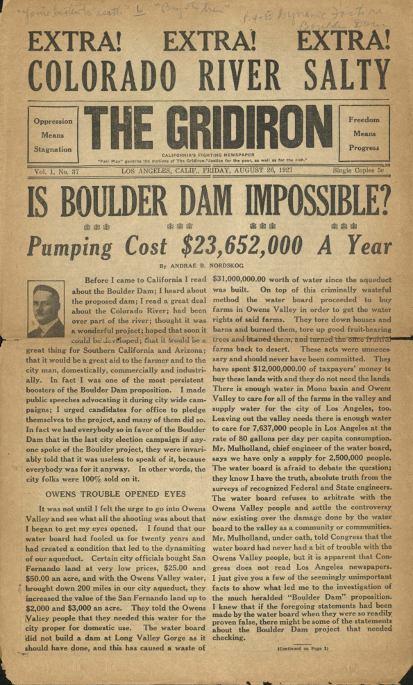 Page from The Gridiron, August 1927