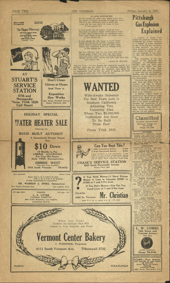 Page from The Gridiron, January 1928