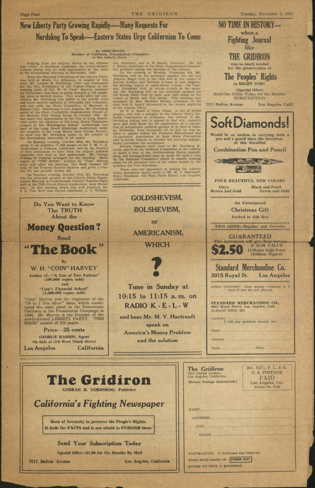 Page from the Gridiron, November 1931