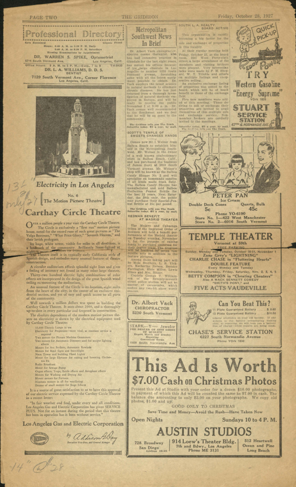 Page from the Gridiron, October 1927