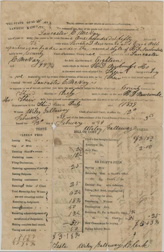 Writ to pay the debt owed by Lancaster C. McNay