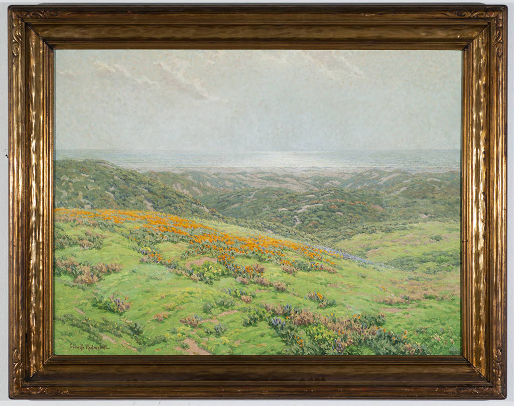 Framed painting of California poppies