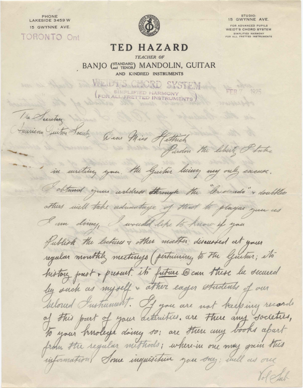 Letter from Ted Hazard to American Guitar Society, February 7, 1925