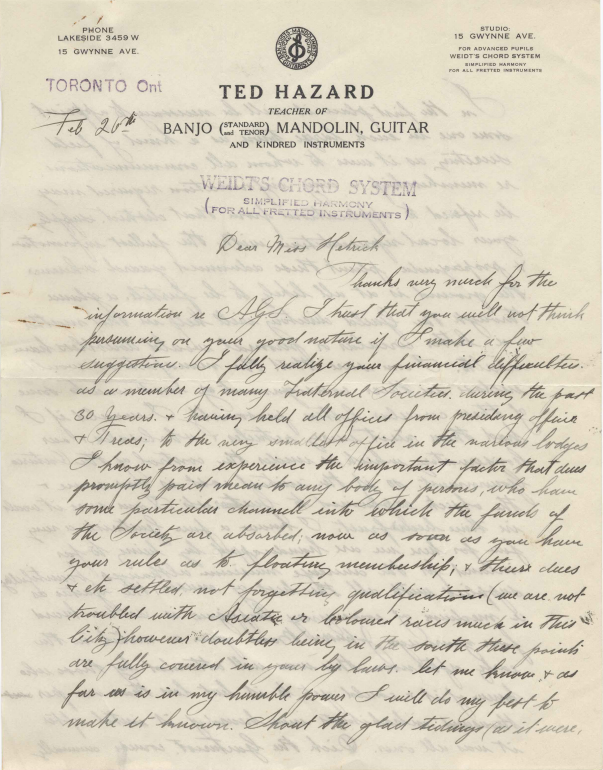 Letter from Ted Hazard to American Guitar Society, February 26, 1925