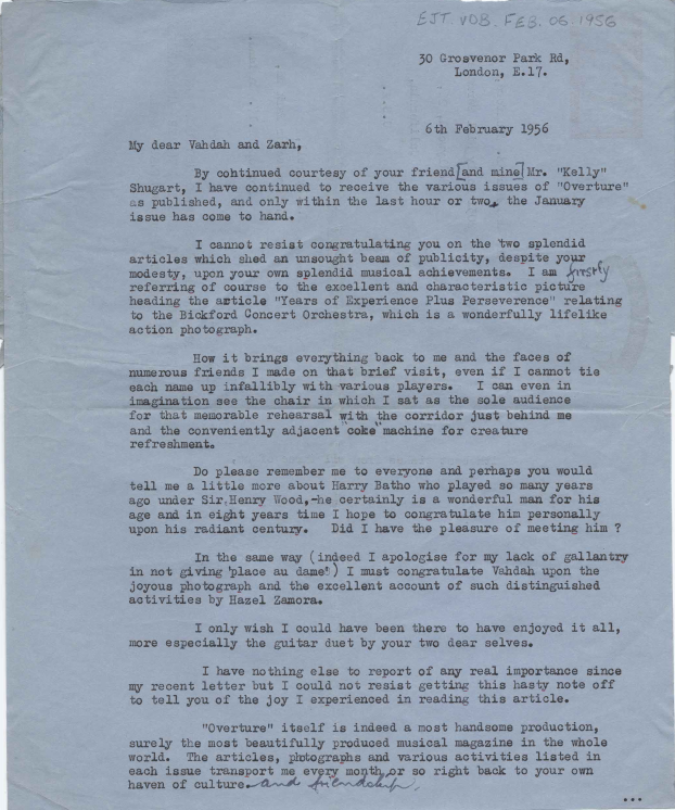 Letter from Ernie Tyrrell to Vahdah and Zarh Bickford, February 6, 1956