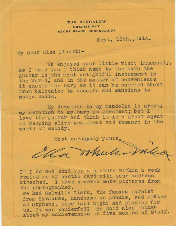 Letter from Ella Wheeler Wilcox to Miss Olcott, September 18, 1914